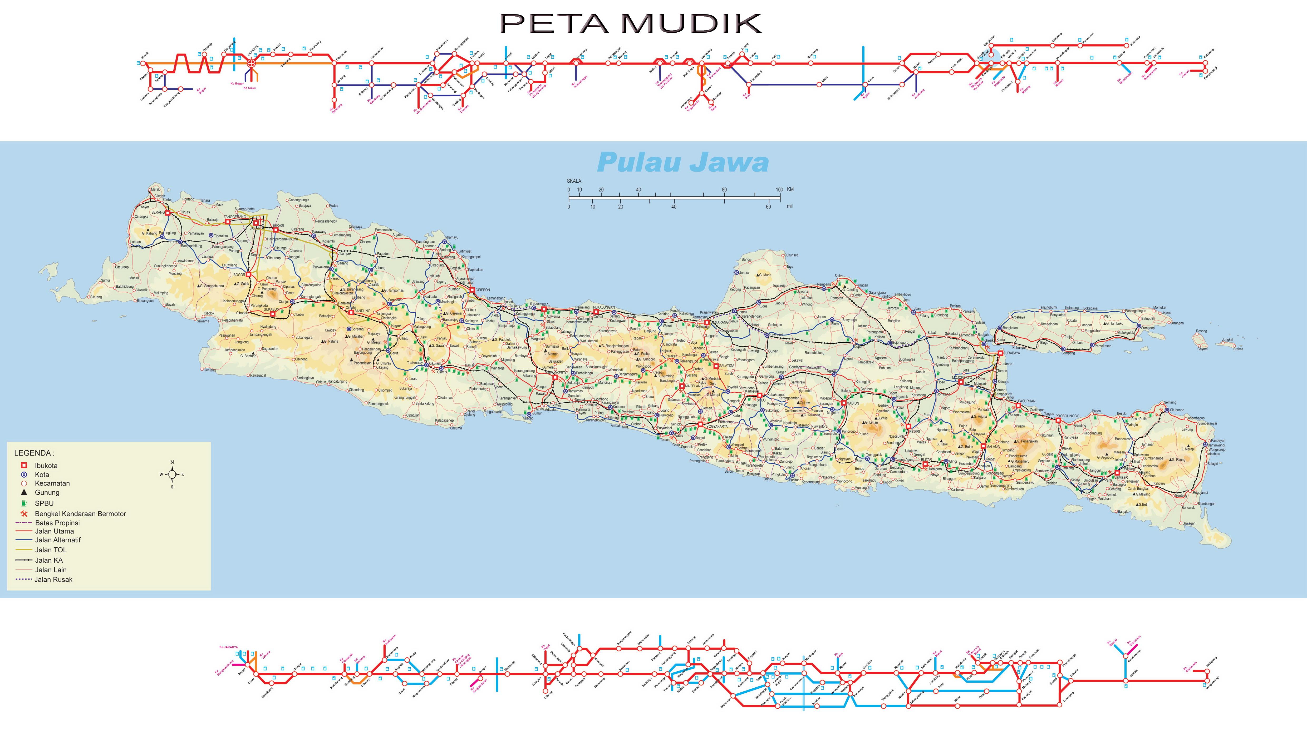 Peta Kota Mudik Pulau Jawa Hd Jumlah Lebaran Terbesar Jakarta