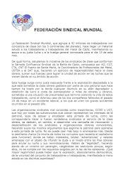 Apoyo de la Federación Sindical Mundial a la Huelga del Metal en la Bahía de Cádiz el 13 de junio