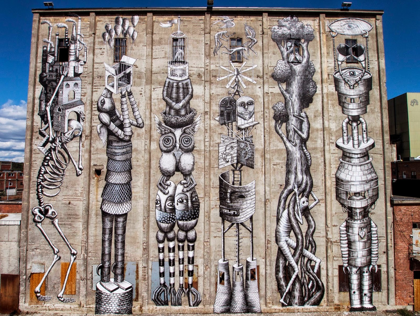 Phlegm was recently in Norway where he spent a few days working on this new piece somewhere in the city of Moss for the Urban Samtidskunst Project.