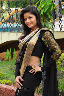 Gehana Vasista in black saree Pictures 005.jpg