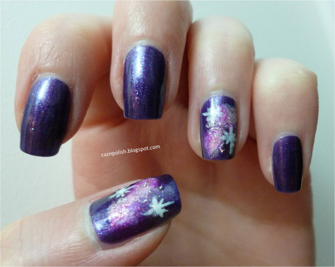 caz 'n' polish | Purple Galaxy Nail Art