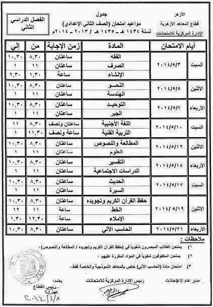 جداول امتحانات الصفوف الإعدادية الازهرية الترم الثانى 2014