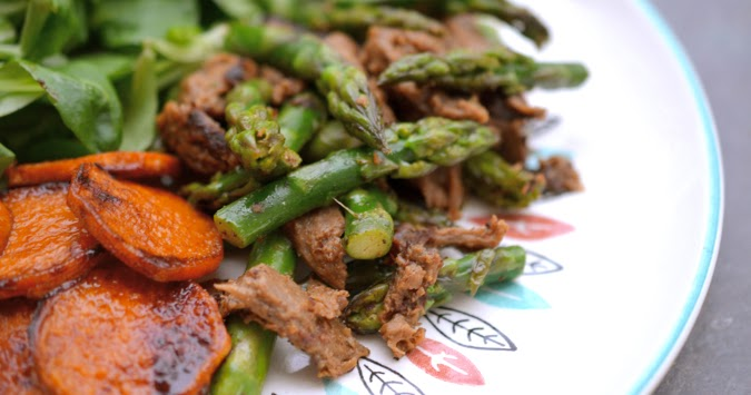 Scissors And Spice Vegan Beef Tips Asparagus And Smoky Sweet Sweet Potatoes