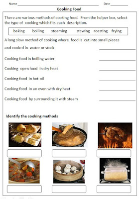 Methods of cooking- frying, boiling, steaming, roasting..