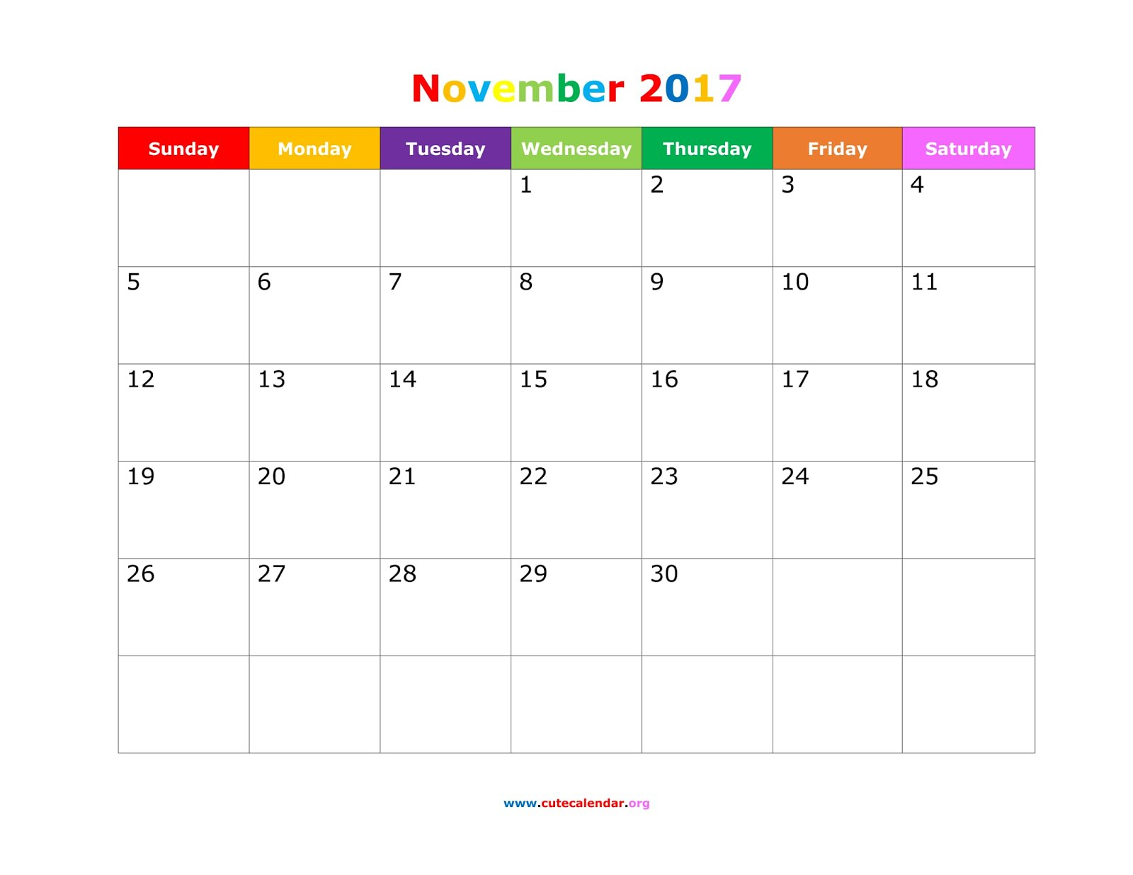 Download November 2017 Calendar Printable Templates