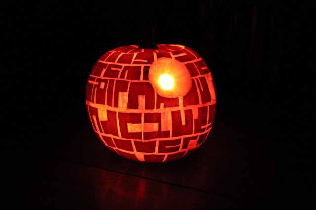 Pumpkin Star Wars Death Star in the dark