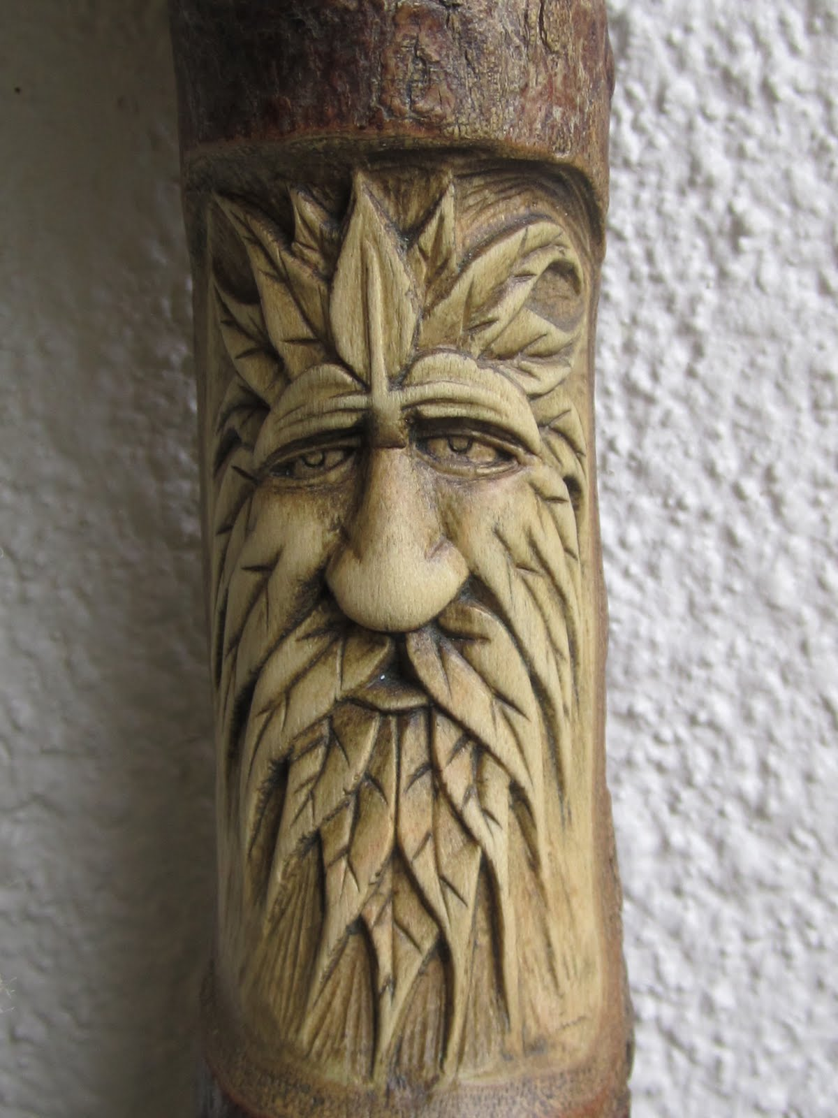 Woodwose carving green man twine holder