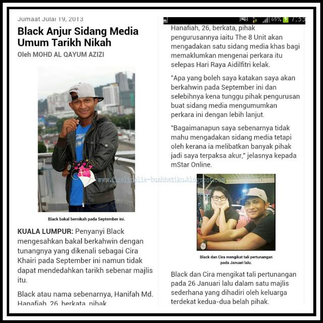 gambar black dan cira khairi, perkahwinan black, tarikh perkahwinan black, nama sebenar black, gambar tunang black,
