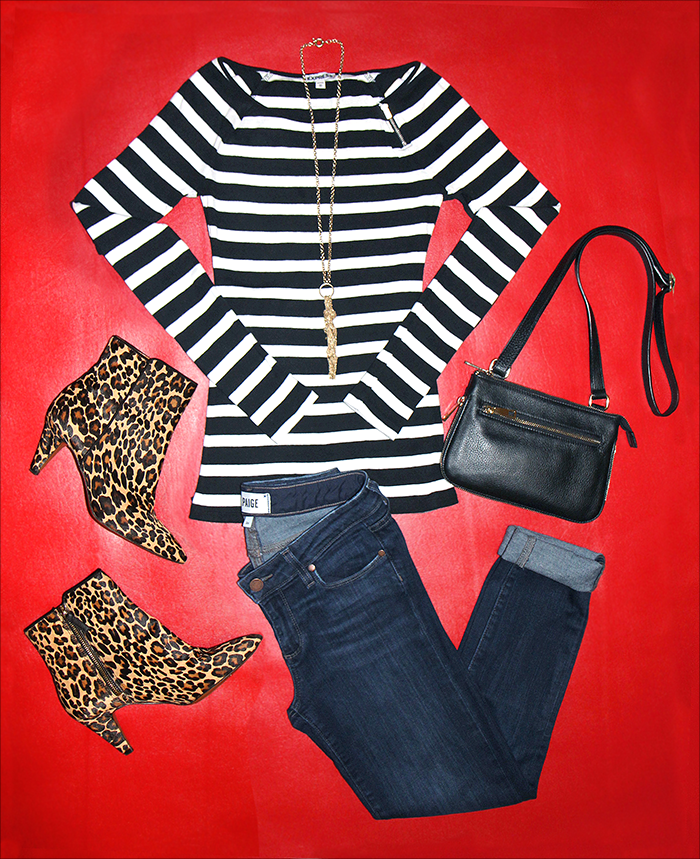 fall style me pretty challenge, get your pretty on, mixing prints, leopard booties