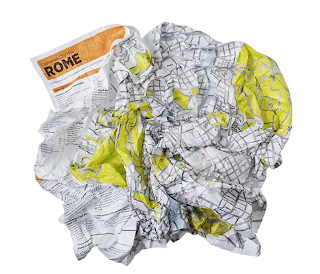 crumpled city rome, plan de Rome froissé