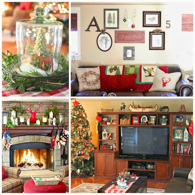 Corner stone fireplace in Christmas family room-www.goldenboysandme.com