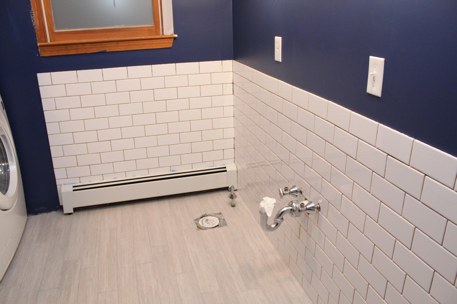 Bathroom Renovation  Subway Tile GOING UP!