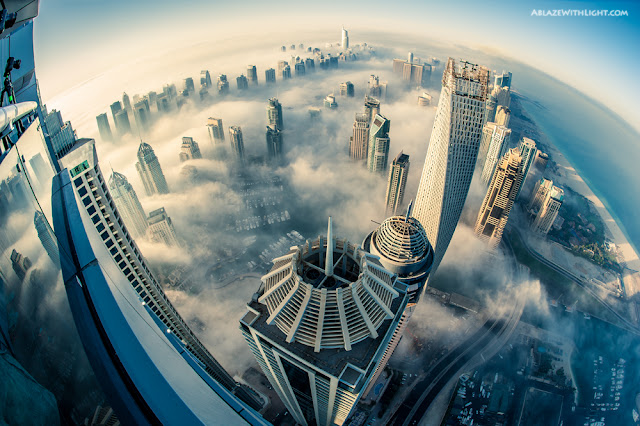 Photo of Dubai Marina skyscrapers as seen from the 85th floor of the Princess Tower