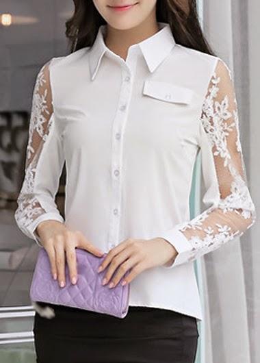 Blusa Elegante Color Blanco, Manga Larga Tres Cuartos con Transparencias