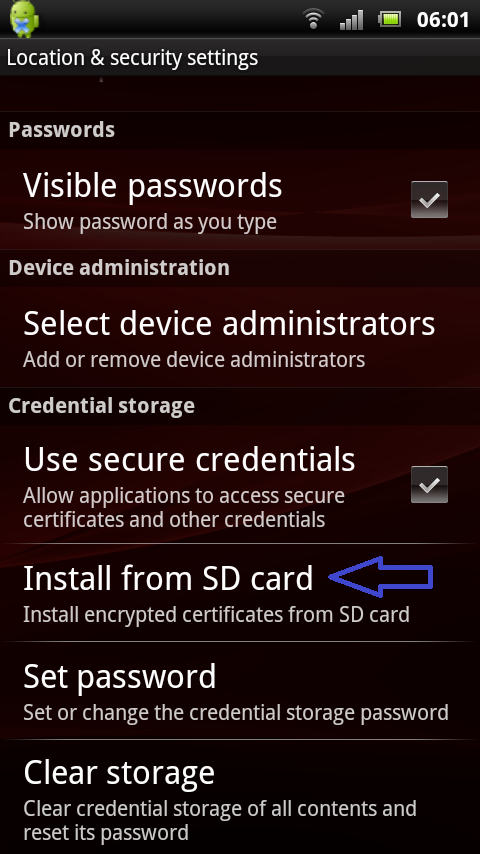On Android Installing Cer X Certificates On Android