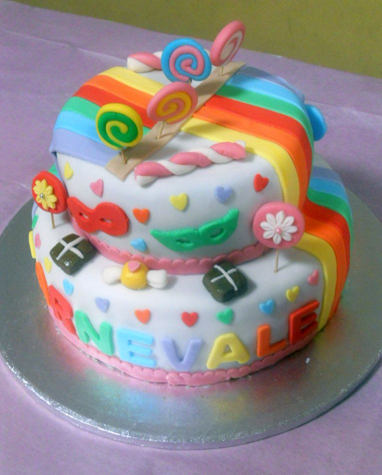 Profumo di zucchero sweets by sonia torta di carnevale arcobaleno - Decorazioni per torte di carnevale ...