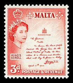 QEII Malta - King's Scroll 3d Stamp