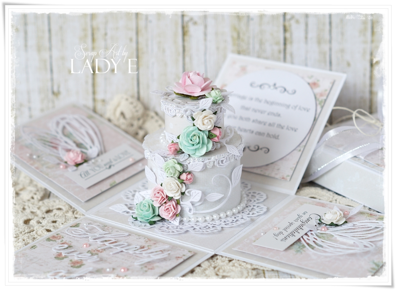 Tort Weselny / Shabby Wedding Cake In Exploding Box - Studio75 DT ...