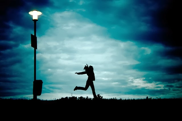girl running in night