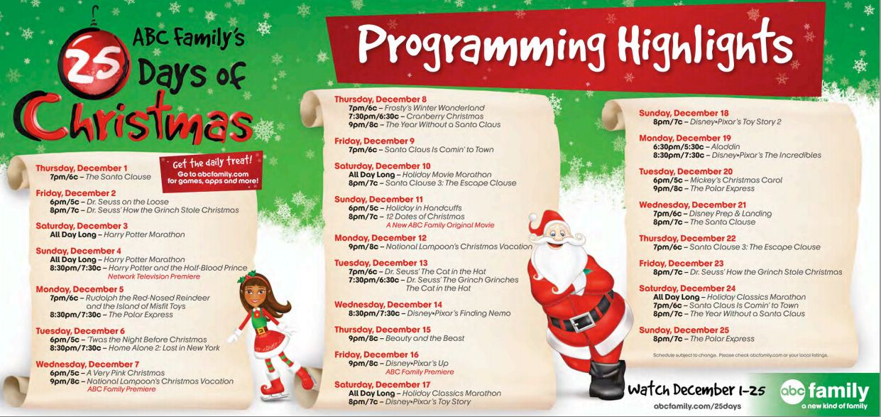 abc familys 25 days of christmas schedule for 2011 - Abc Family 25 Days Of Christmas Schedule