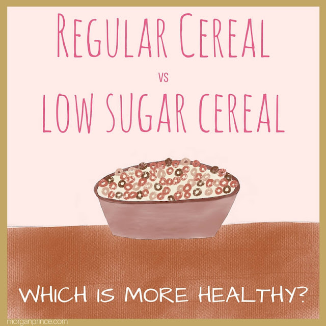 """A hand drawn bowl of cereal with the words """"Regular cereal vs. low sugar cereal, which is more healthy?"""""""