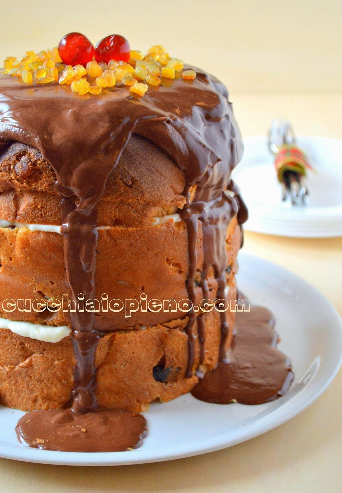 panetone recheado com creme e ganache de chocolate