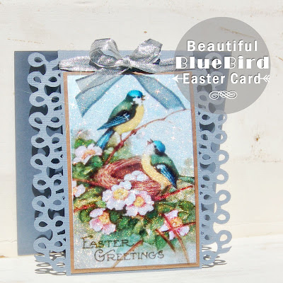 Not Just Paper and Glue, Easter, Card, Glitter, Vintage, Bluebirds,