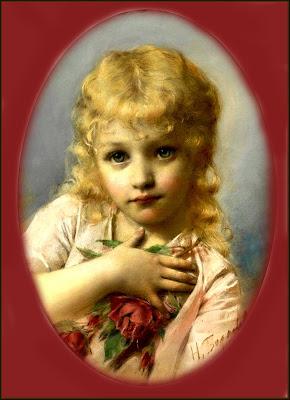 niña vintage rubia pintura ovalada