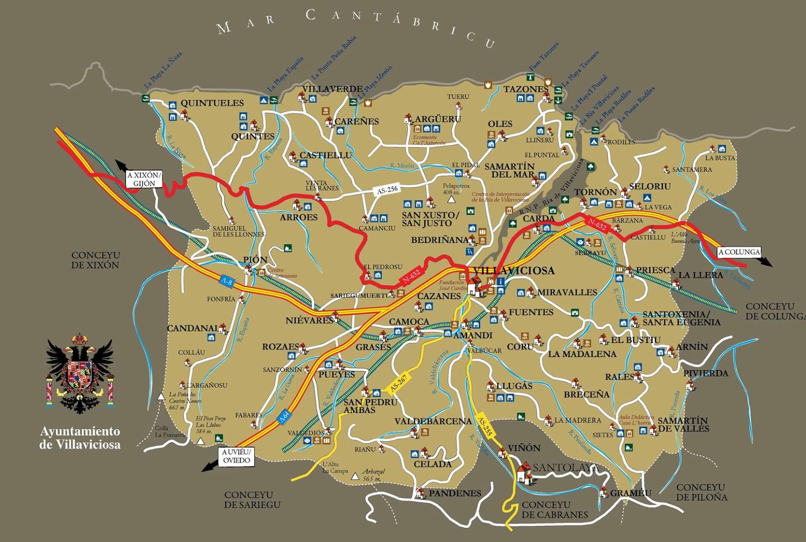 Mapa del Concejo de Villaviciosa  As ye Asturias