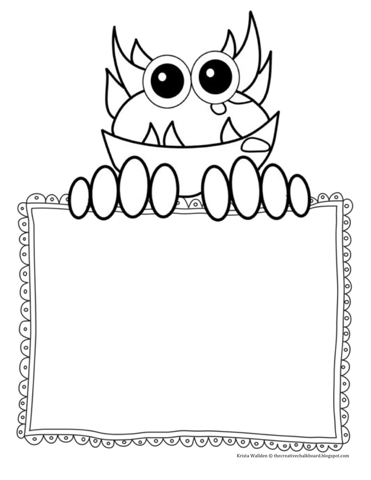The creative chalkboard day 2 freebie monster writing for Template monste