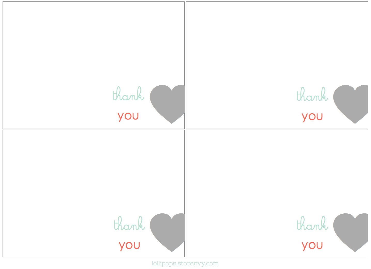 free thank you card printables!