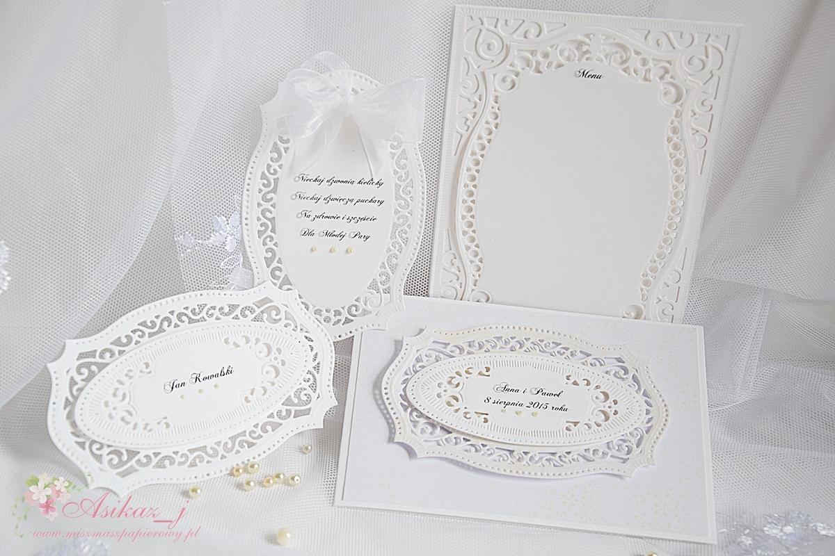Miszmasz Papierowy Ażurowe Zaproszenia ślubne