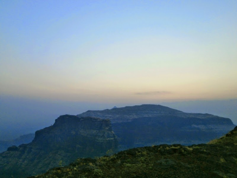 Kalsubai peak in the distance just peeping out beyond the Kirda mountain