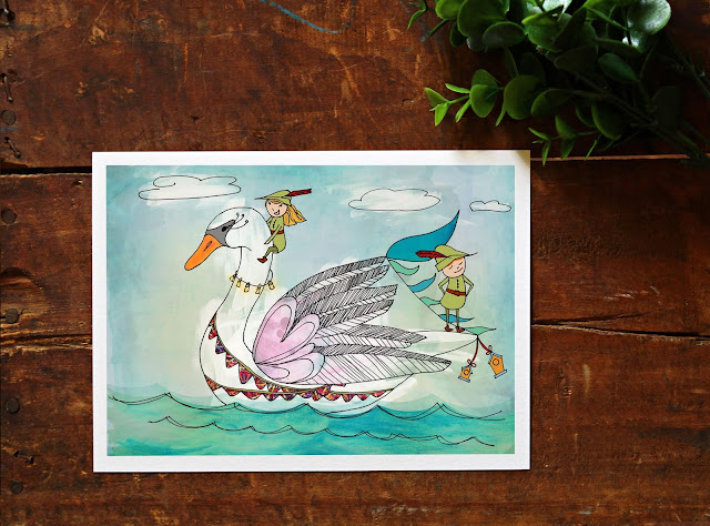 swan illustration nursery decor