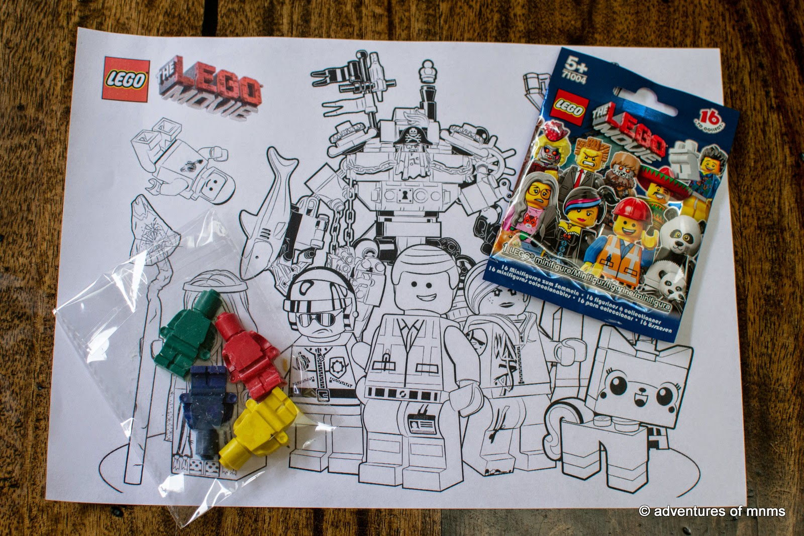 LEGO movie homemade crayon and colouring page