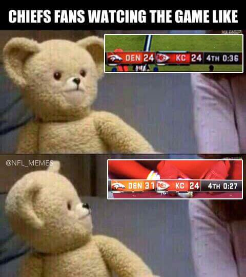 chiefs fans watching the game like, den24 kc24 4th 0:36, den31 kc24 4th 0:27.- #chiefshaters #broncos #nfl