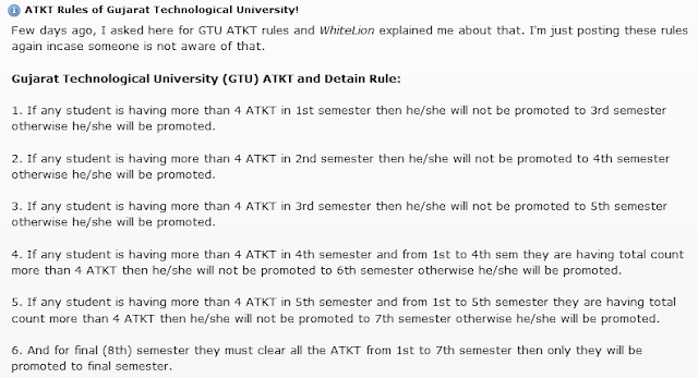 Updated GTU Backlog Detention ATKT Rule - GTU.ac.in