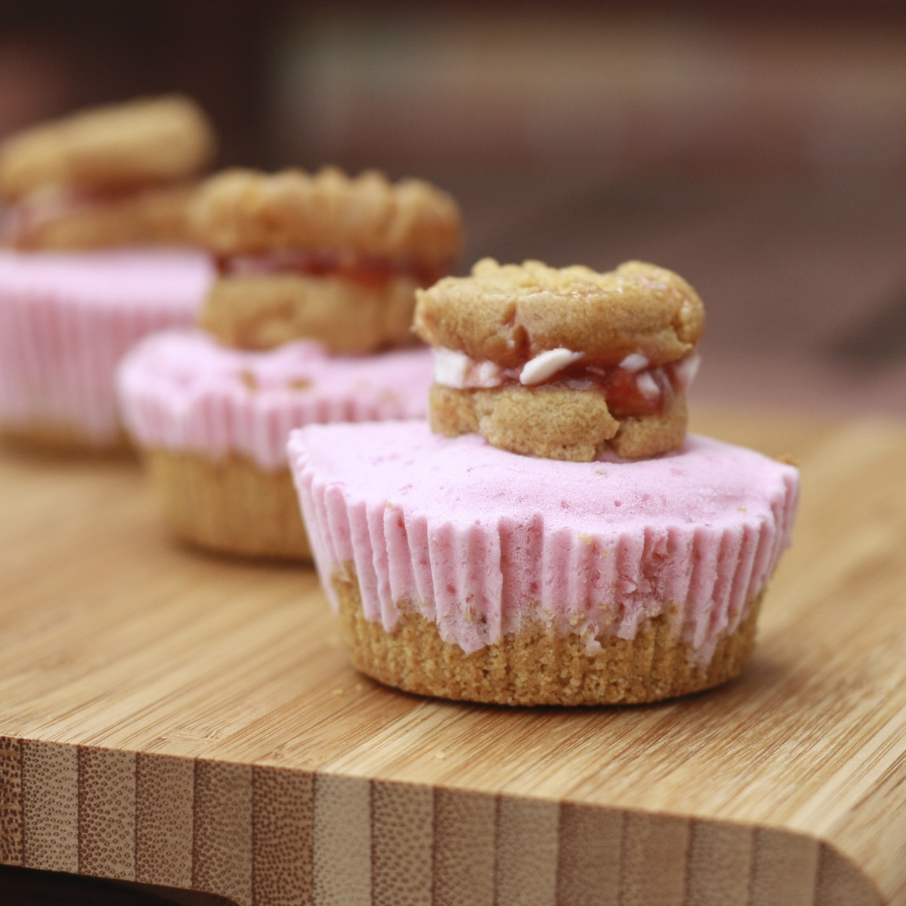 Mini Peanut Butter and Jelly Ice Cream Cheesecakes