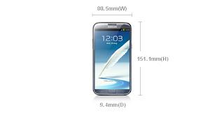 Samsung Galaxy Note 2 Size