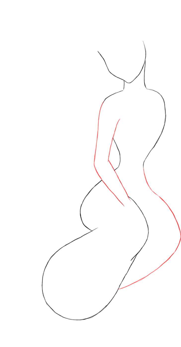 Connect jasmines head and body to give her a neck draw a wide s shaped oval which will be her leg her leg should be thinnest near her body