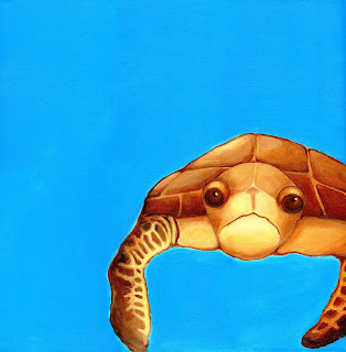 Painting of loggerhead sea turtle