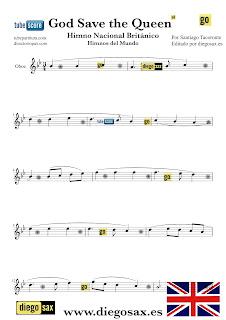 Partitura del Himno Nacional del Reino Unido para Oboe God Save the Queen British National Anthem Sheets Music Oboe Music Score Partitura Himno Británico. También sirve para corno inglés