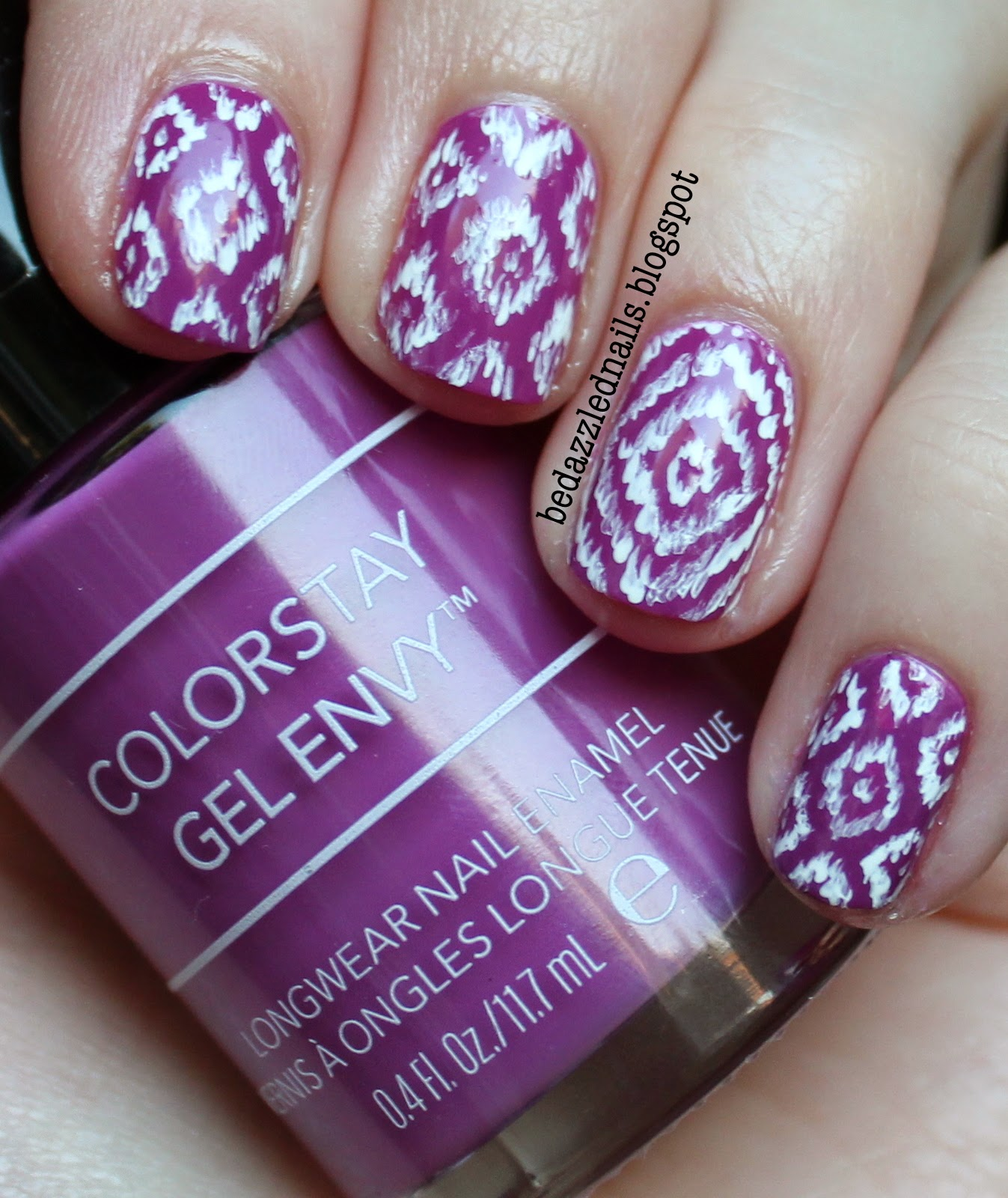 Bedazzled Nails Purple Ikat