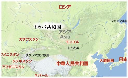 トゥバ/モンゴル周辺の地図