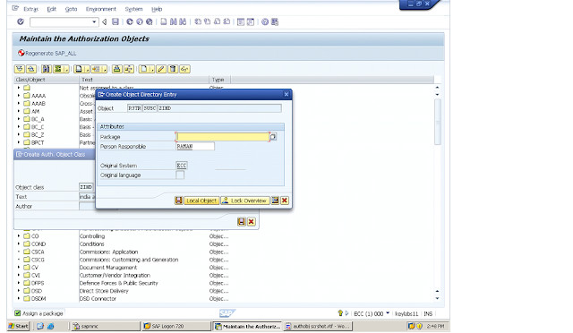 authorization object creation tcode