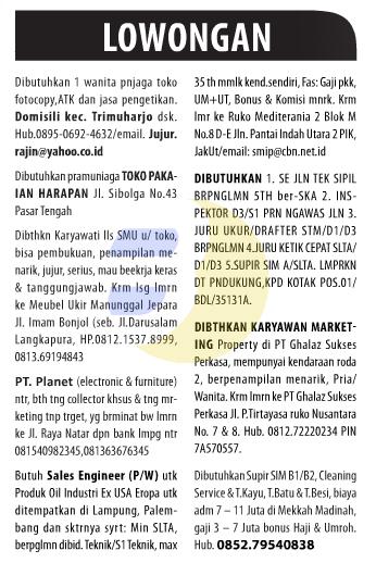 Lowongan Kerja Baris Lampung Post 10 Januari 2015
