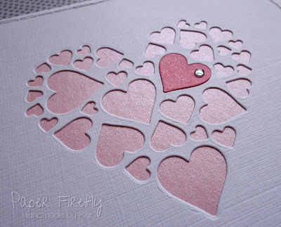 Romantic card with lots of pink hearts