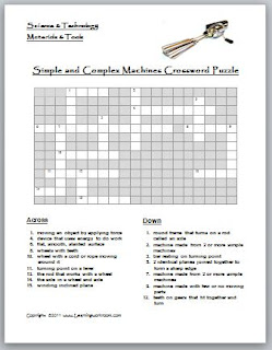 learning ideas grades k 8 simple and complex machines crossword puzzle. Black Bedroom Furniture Sets. Home Design Ideas