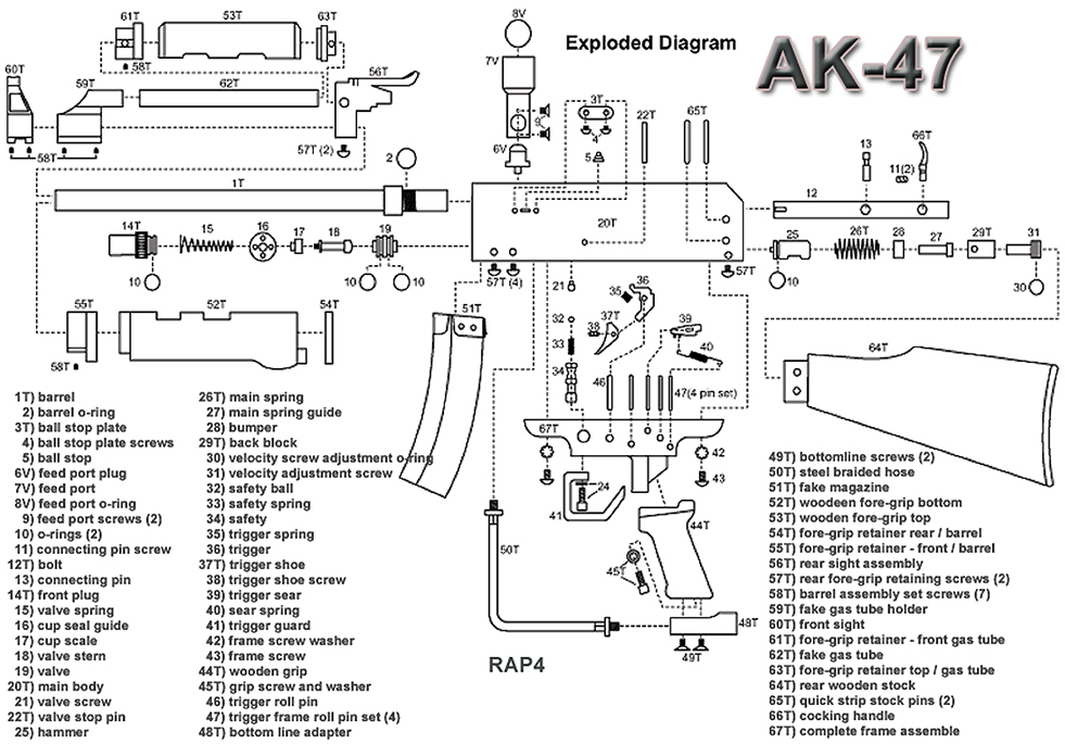 ammo and gun collector ak 47 exploded parts diagram rh ammoandguncollector com ak 47 diagram exploded ak 47 diagram exploded