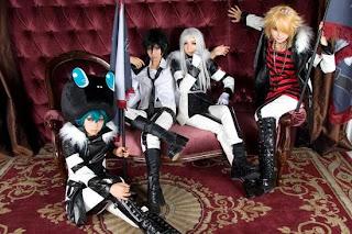 Tasha-Ren-Saya-Ricu cosplay as Xanxus-Belphegor-Flan-Squalo from Reborn